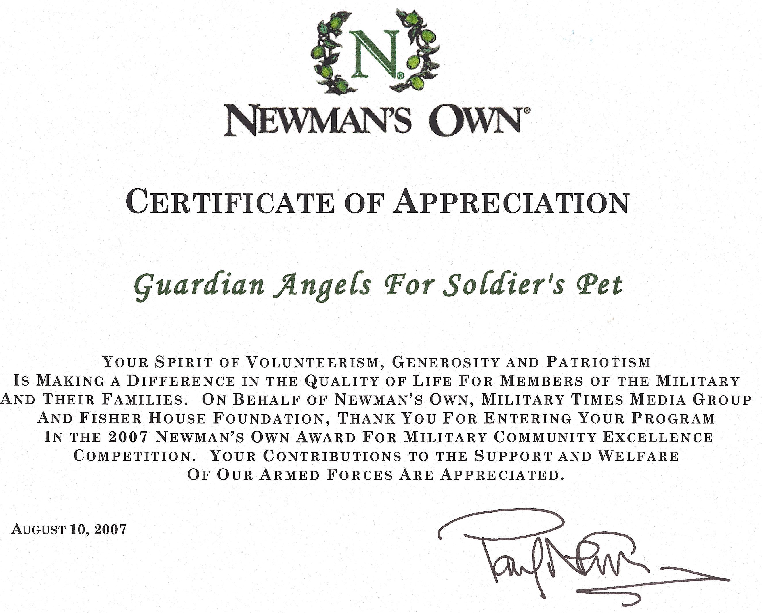 newmans own aug 07